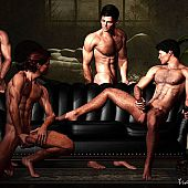 Drawing 3D homosexual guys dancing in the ballet.