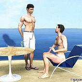 2 3D homosexual learn on the pier.