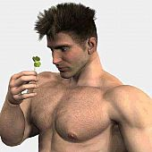 Hirsute hunks romantic and macho 3D gays.