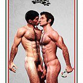 Hunk bushy 3D homosexual giving a kiss and hug.