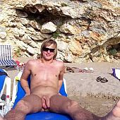 Intimate pictures of in nature's garb chaps on the beach.