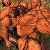Muscle homo warriors engulf and fuck.
