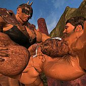 Muscle homo warriors engulf.